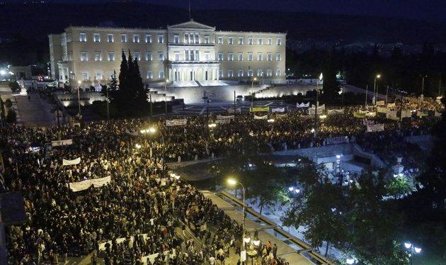 Massemonstration i Grekland mot åtstramningarna